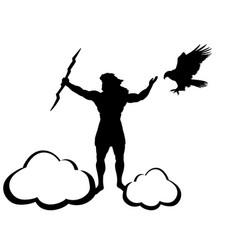 Zeus jupiter god eagle silhouette ancient vector