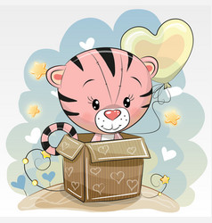 birthday card with a cute tiger vector image vector image