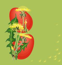 easter egg and dandelion on green background vector image