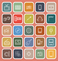 Entertainment line flat icons on orange background vector image vector image