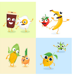 funny food characters - set of modern vector image vector image