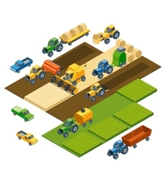 Isometric agricultural equipment farm tractors vector image