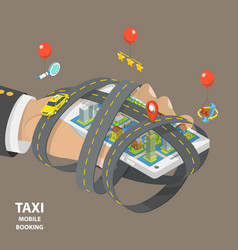 mobile taxi booking flat isometric low poly vector image vector image