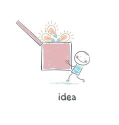A man carries a box of ideas Concept ideas vector image vector image