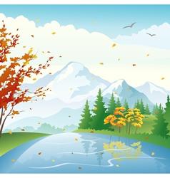 Autumn lake vector image