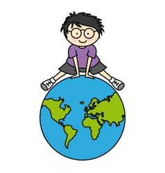 boy with globe vector image vector image