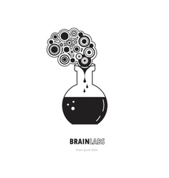 Brain lab logo template design with a round bulb vector image vector image