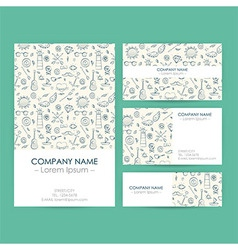 Business Set Template with Hand Drawn Marine vector image vector image