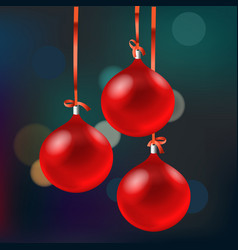 christmas card with red baubles merry christmas vector image vector image