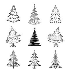 Christmas trees set vector image