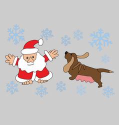 santa claus and zodiac dog vector image