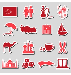turkey country theme symbols stickers set eps10 vector image