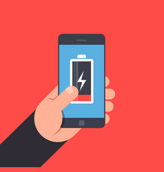 hand holding to a smartphone low battery life of vector image vector image