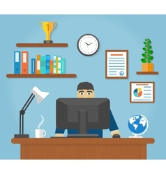 Man sitting on chair at table front of computer vector image vector image