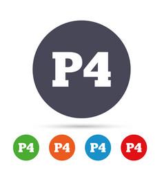 Parking fourth floor icon car parking p4 symbol vector