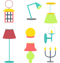 Set of different lamps furniture and floor lamps vector