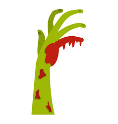 Zombie green bloody hand icon isolated vector