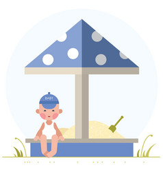 boy playing in the sandbox vector image vector image