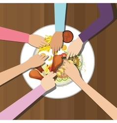 eat together many hands one plate food view from vector image vector image