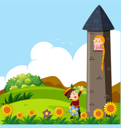 Prince and princess in the tower vector