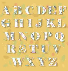 spring floral alphabet vector image vector image