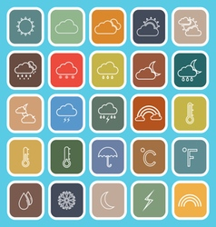Weather line flat icons on blue background vector image