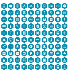 100 school icons sapphirine violet vector image