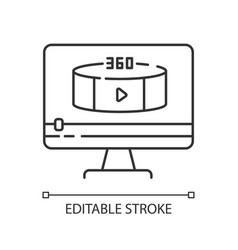 360 degree view video pixel perfect linear icon vector