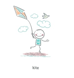 A man with a kite vector image