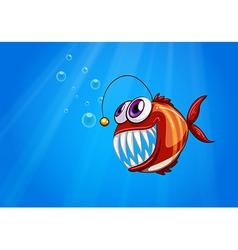 A scary piranha under the sea vector image vector image