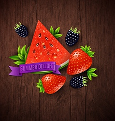 Abstract summer poster with watermelon strawberry vector image