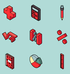 Algebra color outline isometric icons vector