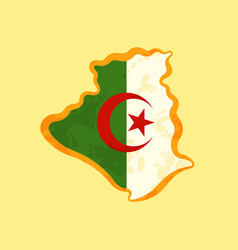 Algeria - map colored with algerian flag vector