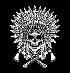 American indian chief skull with crossed tomahawks vector