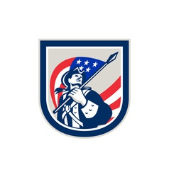 American Patriot Holding USA Flag Look Up Crest vector image
