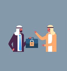 arabic businessman hold case padlock security gdpr vector image