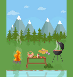 Barbecue picnic in the mountains green nature vector