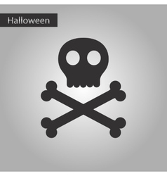 Black and white style icon halloween skull bones vector