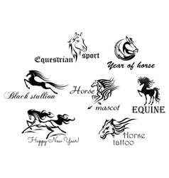 Black horses with decorative scripts vector