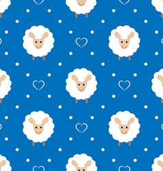 Blue seamless pattern with cute sheep and hearts vector