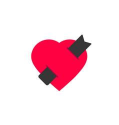 book love logotype flat design heart vector image