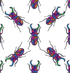 Bugs seamless pattern hand drawn vector image