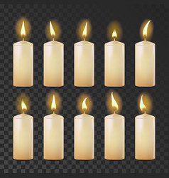 candles set white yellow religion vector image