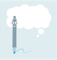 cartoon pen with speech bubble vector image
