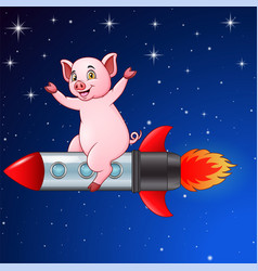 cartoon pig riding on a rocket flying vector image