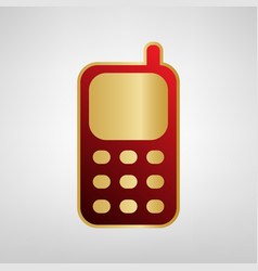 cell phone sign red icon on gold sticker vector image