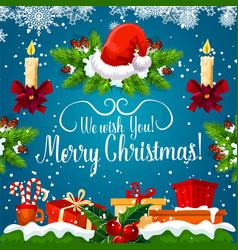 christmas gift and new year garland greeting card vector image