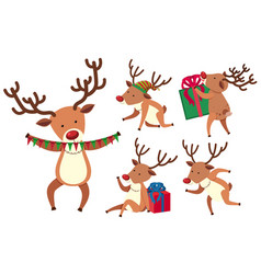 Christmas reindeer in different actions vector