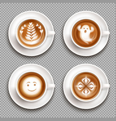 colored latte art top view icon set vector image