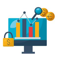 Computer chart security exchange stock market vector
